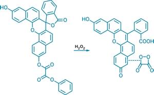 Хемилюминесцентная система, чувствительная и специфичная к H<sub>2</sub>O<sub>2</sub>. Пероксогруппа  оксалата нафтофлуоресцина реагирует с H<sub>2</sub>O<sub>2</sub> образуя диокситандион, который образует заряженный комплекс, возбуждающий краситель (использовано изображение http://pubs.acs.org/cen/news).