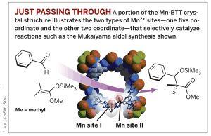 Часть кристаллической структуры Mn-BTT содержит два типа Mn<sup>2+</sup>-центров - один - пентакоординированный, а другой - дикоординированный, которыйселективно катализирует реакцию альдольной конденсации Мукаямы (использовано изображение http://pubs.acs.org/cen/news). (кликните картинку для увеличения)