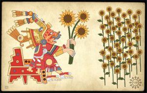 Выращивание подсолнечника древней культурой ацтеков в современной интерпретации художника