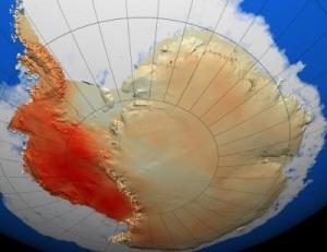 Карта интенсивности потепления в Западной Антарктиде на протяжении последних 50 лет. Темно-красная область - область наибольшего потепления. НАСА. (кликните картинку для увеличения)