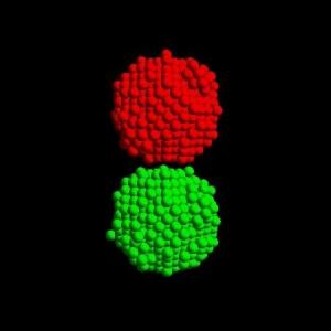 Два атомарных кластера, готовых к столкновению в компьютерных экспериментах Kuninaka и Hayakawa. (кликните картинку для увеличения)