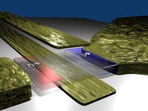 Трехмерная модель туннельного транзистора, построенного на базе двух слоев графена. (кликните картинку для увеличения)