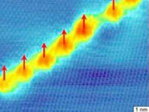 В графите электроны в дефектных областях ведут себя иначе (отмечены желтым и красным), обуславливая магнитные явления. (кликните картинку для увеличения)