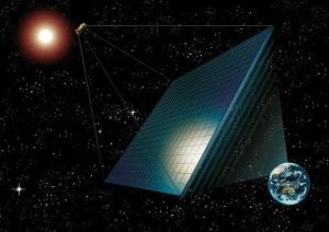 Космическая солнечная электростанция (Рисунок Scientific American) (кликните картинку для увеличения)