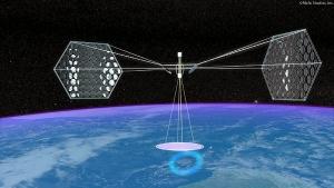 Концепция космической солнечной электростанции. (Рисунок Mafic Studios) (кликните картинку для увеличения)