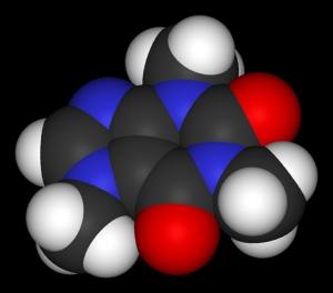 3D-модель молекулы кофеина. (при содействии 3dpdb.com) (кликните картинку для увеличения)