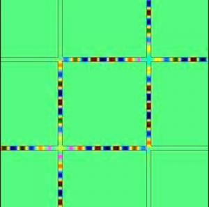 Схематичное изображение транспорта световых лучей через сеть, состоящую из волноводов. (кликните картинку для увеличения)