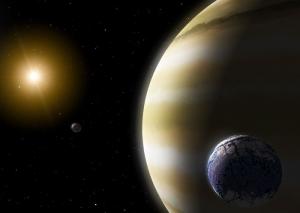 Экзопланета в зоне обитания со скалистым землеподобным спутником в представлении художников НАСА (кликните картинку для увеличения)