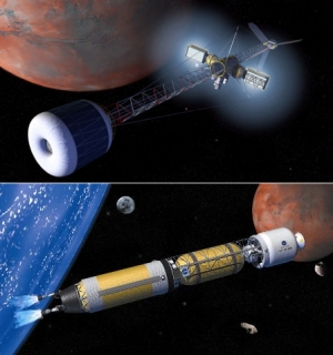 Марсианские транспортные корабли с двигательной установкой на основе ядерного электроракетного двигателя [верхний рисунок] и на основе ядерного ракетного двигателя [нижний рисунок] в представлении художников НАСА (кликните картинку для увеличения)