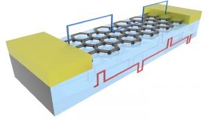 Схематическое изображение предложенной ячейки для запоминающих устройств на основе нанолент графена. (кликните картинку для увеличения)