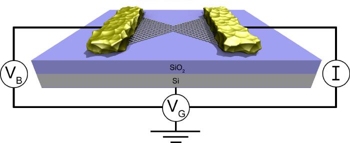 Предложенная учеными схема полевого транзистора из графена и золотых нанопроводов. (кликните картинку для увеличения).