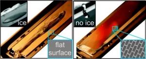 Поверхности «шипованные» сотами (35 μm), кирпичами (15 x 39 μm) и стержнями (4 μm в диаметре) отталкивают воду еще до того, как она закристаллизуется. (кликните картинку для увеличения)