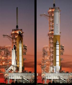 Система Space Shuttle и ракета-носитель тяжелого класса на основе ее элементов в представлении художников НАСА (кликните картинку для увеличения)