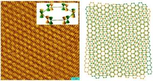 Изображение многослойного графена, отдельные плоскости которого повернуты друг относительно друга на 28 градусов. Левое изображение получено при помощи методик сканирующей туннельной микроскопии; правое - смоделировано. (кликните картинку для увеличения)