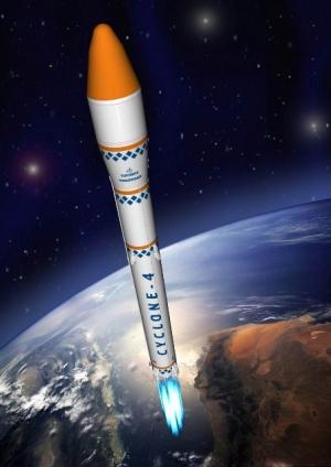 В 2012 году с бразильского космодрома Алкантара должен состояться первый квалификационный запуск украинской ракеты-носителя Циклон-4. (Изображение КБ Южное) (кликните картинку для увеличения)
