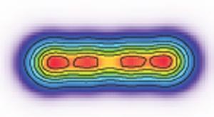 Расчеты показывают, вращающееся ядро кислорода-16 может деформироваться в 4 отдельных альфа-частицы, размещенные вдоль оси вращения. (кликните картинку для увеличения)