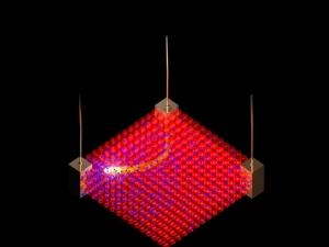 Схематическое изображение того, как направление электрического тока может управляться с помощью внешнего воздействия. (кликните картинку для увеличения)