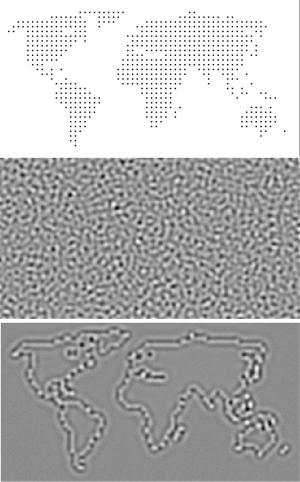 Секретное изображение, шаблон с закодированной картинкой, а также итог расшифровки, полученный с помощью нового алгоритма. (кликните картинку для увеличения)