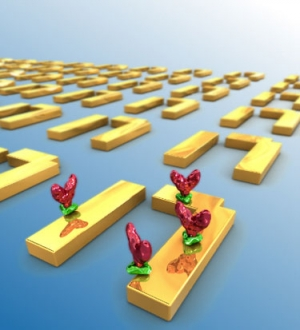 Схематическое изображение молекул белка, размещенных на поверхности метаматериала (масштаб схемы не соблюден). (кликните картинку для увеличения)