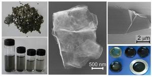 Изображения композитной смеси однослойного и многослойного графена и ее составляющих на различных стадия производства. (кликните картинку для увеличения)