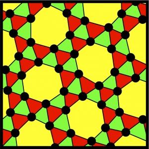 Пример двумерного шаблона, который не может быть получен сам из себя путем поворота и параллельного перемещения. Как показало математическое моделирование, данная хиральная модель может быть получена в результате действия между всеми частицами сферически-симметричных сил. (кликните картинку для увеличения)