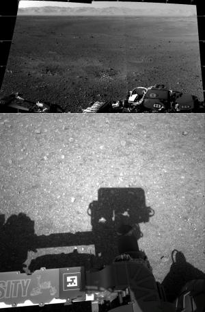 Верхний – панорама поверхности, сделанная навигационными камерами [Navcams]. Нижний – первый снимок с одной из навигационных камер. (Изображения НАСА) (кликните картинку для увеличения)
