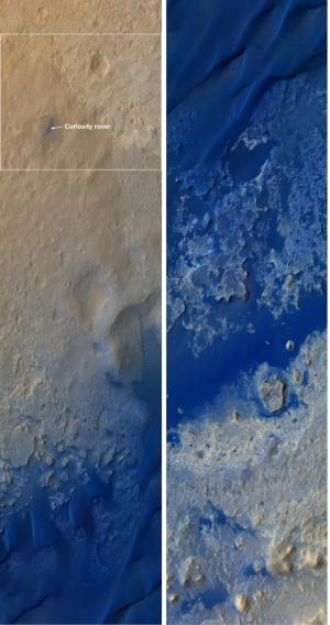 Две последовательные части снимка окружающей марсоход Curiosity местности внутри кратера Гейла, снимок сделан камерой высокого разрешения HiRISE с борта космического аппарата MRO. Цвета усилены, в реальности синие цвета более серые. (Изображение NASA/JPL-Caltech/University of Arizona) (кликните картинку для увеличения)