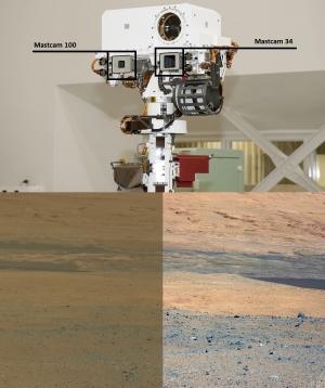 Верхний – расположение камер инструмента Mastcam на мачте марсохода Curiosity. Нижний – снимок с камеры Mastcam 34 в реалистичной цветопередаче [true color] и после балансировки белого [white-balance], как если бы район съемки был перемещен на Землю и освещался бы в земных условиях. (Изображения NASA/JPL-Caltech/MSSS) (кликните картинку для увеличения)