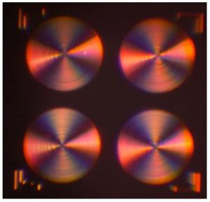 Фото разработанной учеными металинзы под микроскопом. (кликните картинку для увеличения)