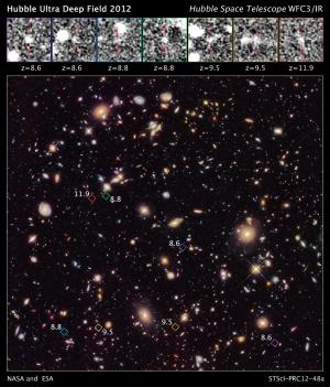 Новый снимок Хаббла области ультраглубокого обзора, сделанный в компанию 2012 года, открывает ранее невиданную группу из семи далеких галактик, которые наблюдаются такими, какими они были в период 350 – 600 млн лет после Большого взрыва. (Изображение NASA, ESA, R. Ellis (Caltech), and the UDF 2012 Team) (кликните картинку для увеличения)
