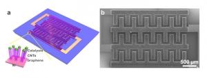 Схематическое изображение и СТМ-скан материала, состоящего из графена и углеродных нанотрубок. (кликните картинку для увеличения)