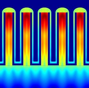 Компьютерное моделирование процесса поглощения света на пяти нанопроводах из фосфида индия. (кликните картинку для увеличения)