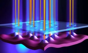 Схематическое изображение множества источников одиночных фотонов на базе квантовых точек на одном чипе. (кликните картинку для увеличения)