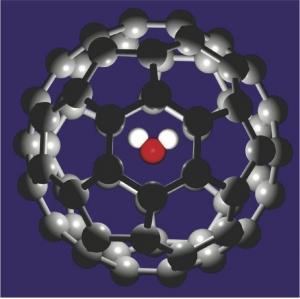 Молекула фуллерена с заключенной внутри молекулой воды. (кликните картинку для увеличения)