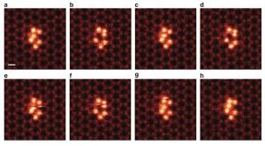 STEM-изображения кластеров, состоящих из 6 атомов кремния, внутри графеновых пор. (кликните картинку для увеличения)