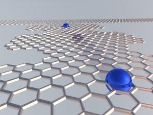 Схематическое изображение одноэлектронного насоса из графена. (кликните картинку для увеличения)