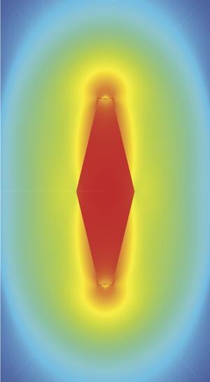 Схематическое изображение частицы бипирамидальной формы. Цветом отражена плотность энергии.