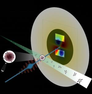 Схематическое изображение эксперимента по изучению дииодобензонитрила с помощью сверхяркого источника рентгеновского излучения. (кликните картинку для увеличения)