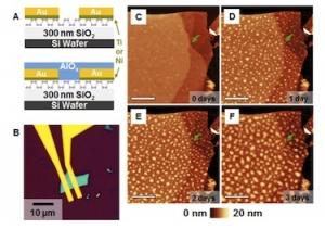 Схема инкапсуляции черного фосфора оксидом алюминия, а также АСМ-снимки процесса деградации материала при контакте с воздухом. (кликните картинку для увеличения)