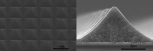Изображение сформированных пирамидальных электродов, полученное при помощи сканирующего туннельного микроскопа. (кликните картинку для увеличения)