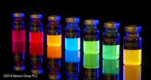 Растворы квантовых точек, не содержащих тяжелых металлов, представленные Nanoco. (кликните картинку для увеличения)